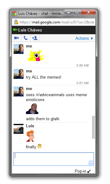Memechat on Gmail